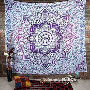 PLUSH DECOR 0091 Ombre Mandala Tapestry Bohemian Wall Hanging/Beach Throw, 215 by 235 cm