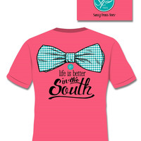 SALE Sassy Frass Life is Better in the South Big Bow Comfort Colors Bright Girlie T Shirt