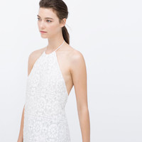 Guipure lace dress with halter neck