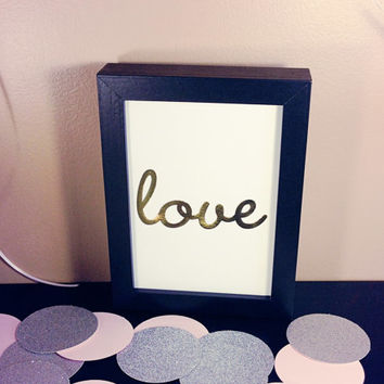 "LOVE Die Cut Art - Wall Hanging - Print - Cursive - 5"" by 7"" - 5x7 - 5 x 7"