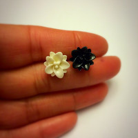 White and Black Lotus Flower Earrings Post Studs mismatched jewelry