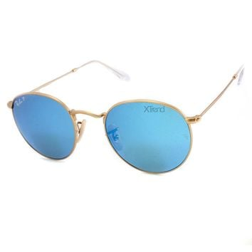 Ray Ban RB3447 112/4L Matte Gold/Blue Mirror Polarised Retro Sunglasses Size 50