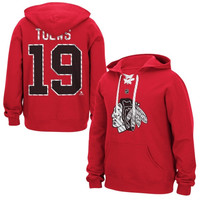 Jonathan Toews Chicago Blackhawks Reebok Lace Up Name & Number Hockey Hoodie - Red