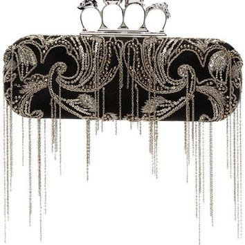 Alexander McQueen Fringe Chain Silk Knuckle Box Black Clutch 40% off retail