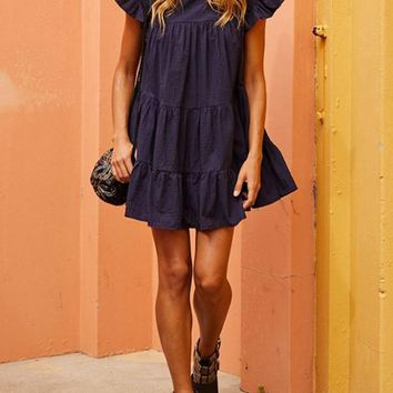 New Navy Blue Pleated Ruffle Sweet Cute Homecoming Party Mini Dress