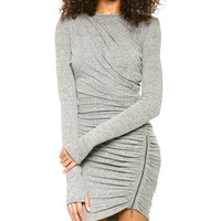 Long Sleeve Ruched Wrap Mini Dress