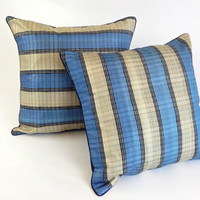 Indigo Striped Silk Pillow, Gift for Him, Blue Striped Silk Cushion, Blue Pillow, Minimalist Apartment Décor, Men Pillow, Thanksgiving Gift