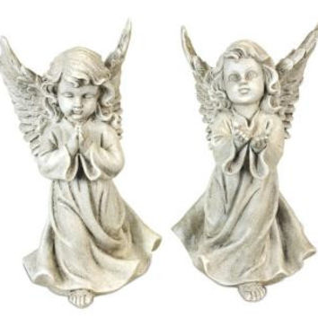 2 Angel Statues - Praying Cherub