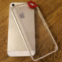Crystal Lip Chain Rhinestones Cell Phone Cases Cover For iPhone 5 5S 6 6S 4.7 6plus 5.5