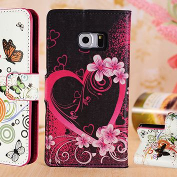 New Leather Design Wallet Book Stand Card Case Cover for Samsung iPhone Mobile