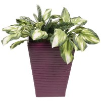 PoliVaz Modern Square Planter, Plum, Large