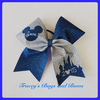 Cheer Bow~Mickey Disney castle Blue and Silver Sparkle personalized with name and year
