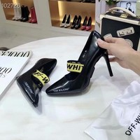 New style Off-white Women's High Heel Sandals Shoes Black