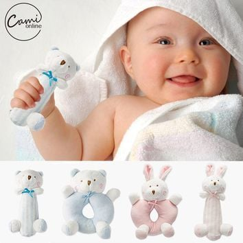 Baby Cartoon Rabbit Bear Plush Rattle Ring Bell Newborn Hand Grasp Toys Soft Mobile Infant Crib Dolls peluche hochet brinquedos