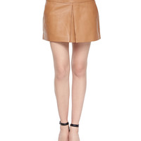 Lambskin Leather Center-Pleated Mini Skirt