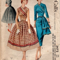 1950s McCall's 3472 Vintage Sewing Pattern Unique Sarong Style Wrap Evening Dress Full or Slim Skirt Hip Drape Surplice Bust 30