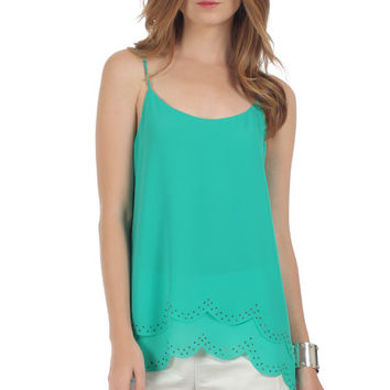 Naked Zebra Scallop Edge Top with Rhinestone Detail in Irish Spring color