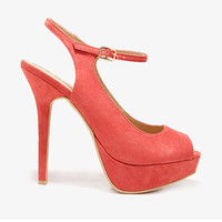 FOREVER 21 Ankle Strap Peep Toe Pumps Coral 10