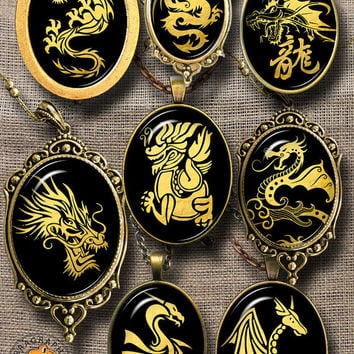 Golden Dragon Digital Downloads - Printable Digital Collage Sheets for Pendants, Cabochons, Arts and Crafts - 30x40mm, 22x30mm ovals CG-968O