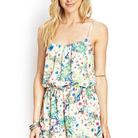 LOVE 21 Watercolor Floral Y-Back Romper Ivory/Green
