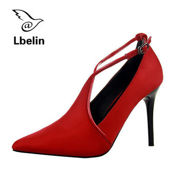 2016 Women Sexy Restore Ancient Out Fine Black Bottom High Heels Suede Velvet Noodles Crossing Bring Single High-heeled Shoes