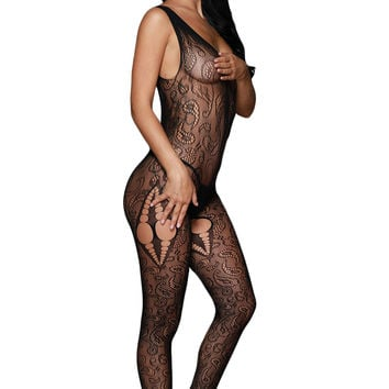 Abstract Pattern Scoop Back Bodystockings