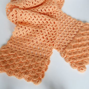 Woman's Peach Crocheted Scarf with Crocodile Stitch accent