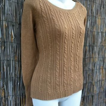 Banana Republic 100% Cashmere Tan Thin Cable Knit Sweater XS Button Boat Neck