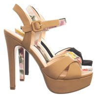 Style High Heel Platform Open Toe Criss Cross Sandal In Solid & Floral Print