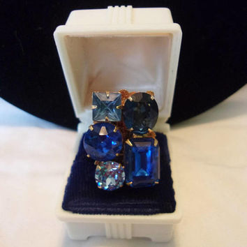 Czech Geometric Ring Sapphire Blue Glass Rhinestone Gold Plate Vintage Fashion 1970's