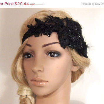 SALE 40% OFF Gatsby Headpiece, Gatsby Headband, gatsby hair clip, flapper headpiece, Flapper Hair Clip, Bridal Headpiece, black feather fasc