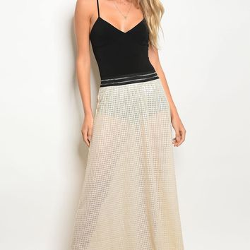 Lining and sequin details sheer line maxi cut skirt
