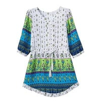 Stylish Vintage Print Round-neck One Piece Dress [5013188420]