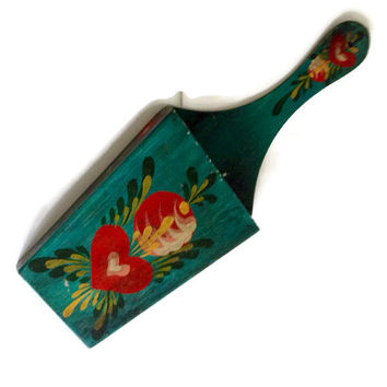 Vintage Tole Wall Pocket, Hand Painted Wood, Turquoise with Flowers, Letter Holder, Cottage Chic Home Decor, Wall Organizer