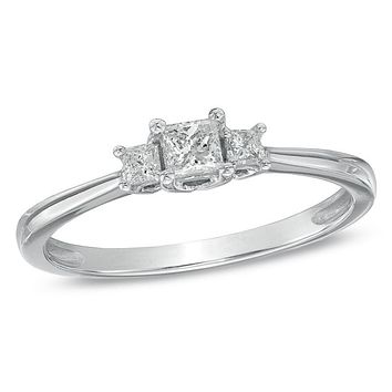 1/4 CT. T.W. Princess-Cut Diamond Three Stone Engagement Ring in 14K White Gold
