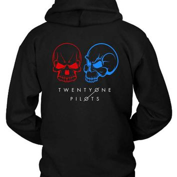 LMF1GW Twenty One Pilots Skull Guns For Hands Illustrations Hoodie Two Sided