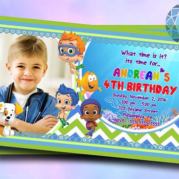 The Bubble Guppies New Boy For Birthday Invitation on SaphireInvitations