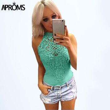 Elegant Black Lace bodycon Bodysuits Womens Sexy V-neck Sleeveless Jumpsuit Rompers  Tops for Women Clothing Gray Green
