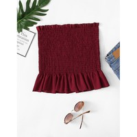Plus Ruffle Hem Pleated Tube Top