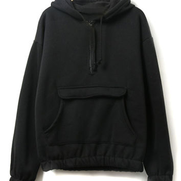 Black Zipper Pocket Detail Fleece Lining Long Sleeve Hoodie