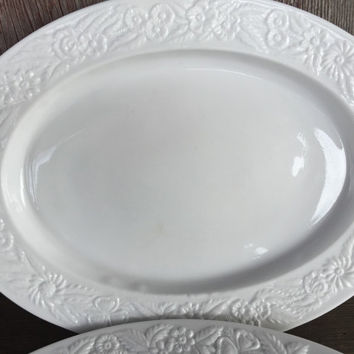 Vintage White Milk Glass 1930s Anchor Hocking Vitrock oval serving platter, depression glass platter, white glass platter, wedding plates