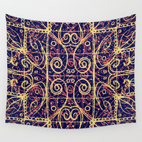 Tribal Ornate Pattern Wall Tapestry by DFLC Prints