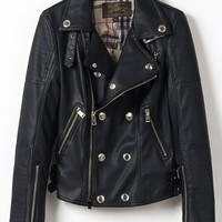 Punk Style Black Zipper Buttons Pockets PU Leather Jacket * free shipping *