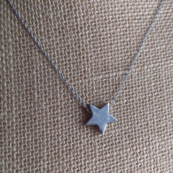 Vintage 1980's Sterling Silver Star Slide Necklace