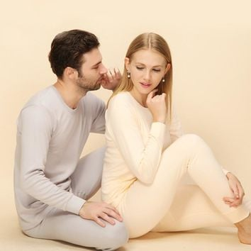 Winter Women thermal underwear comfort cotton long johns women men set sexy slim fitted Cashmere Velet Suit couple suit WQ26
