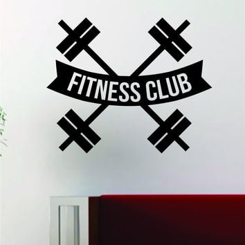 Fitness Club V2 Gym Design Quote Decal Sticker Wall Vinyl Art Words Decor Workout Weight Dumbbell Inspirational
