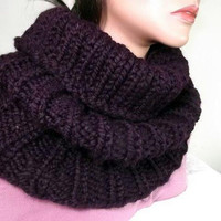 Purple Chunky Cowl- Long Rib Cowl- Eggplant Purple Cowl Hood
