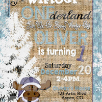 WINTER ONEDERLAND INVITATION - Winter Wonderland Birthday Invite - First Birthday - Winter Birthday - Christmas Birthday Moose Burlap Snow