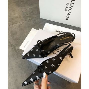 Balenciaga Knife Mules Black BB Pointed Toe Satin Mule With Kitten Heel - Best Online Sale