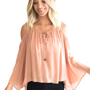 Wildflower Open Shoulder Top Blush
